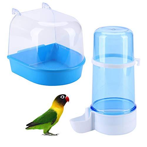 Hmpet Bañera para pájaros con Bebedero para pájaros Dispensador automático de Agua de plástico Jaula Botella de Agua Colgante para pájaros Fuente para Beber pájaro Azul 400ML