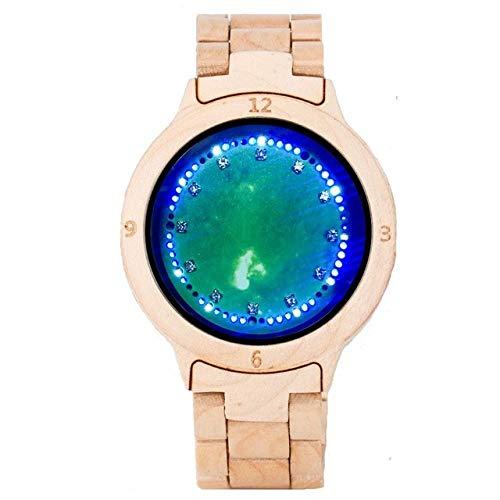 RWJFH Reloj de Madera Pantalla LED Luz giratoria Pantalla táctil Reloj electrónico para Hombres Visión Nocturna Reloj de Pulsera Creativo con Banda de Madera Completa, 2