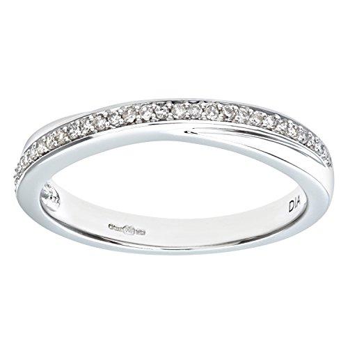 Naava Anillo para Mujer de Oro Blanco 9K con Diamante Talla 14