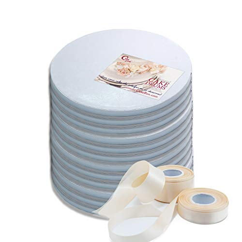 Cake Drums Round 10 Inches - (White, 12-Pack) - Sturdy 1/2 Inch Thick - Professional Smooth Straight Edges - Free Satin Cake Ribbon