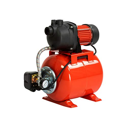 Grafner Hauswasserwerk 800 Watt (max. 5 bar, 20 Liter Kessel, Fördermenge 3500 Liter/Stunde, Start/Stop Automatik, Druckschalter, Manometer, Trockenlaufschutz) Hauswasserautomat Gartenpumpe