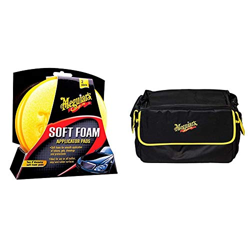 Meguiar\'s X3070 Soft Foam Applicator Pads Auftragsschwamm, 2-er Pack & ST025 Kit Bag Large Tragetasche, schwarz