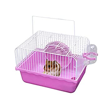 Simple Cavie Guinea Pig Cage & Rabbit Cage | Pet Cage Includes Free Water Bottle & Food Bowl&Hamster Running Wheel  Pink