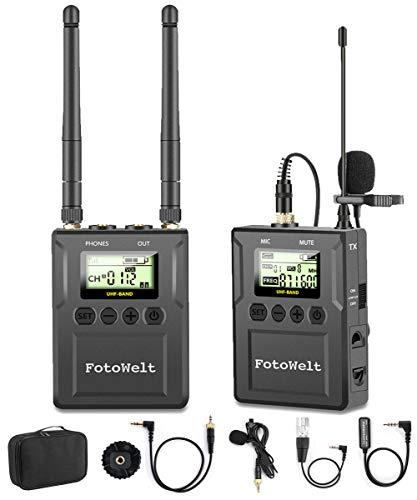 Fotowelt 50 Canali UHF Microfonico Wireless Lavalier con Ricevitore Portatile LCD per Fotocamere DSLR Cellulari Utilizzati in Registrazione Video, Hosting di Programmi e Interviste