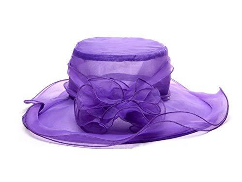 Targogo Berretti Sun Summer Organza Donna Hat Church Kentucky Fashionable Derby cap Cappellini per Cappello da Cerimonia da tè per Cappelli Britannici (Color : Hellviolett 2, Size : One Size)