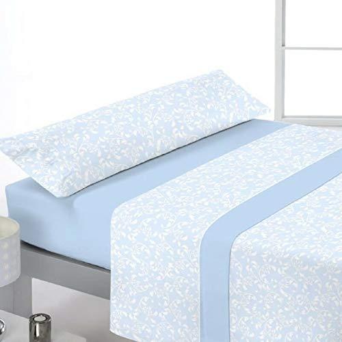 Juego de sábanas de coralina azul para camas de 135