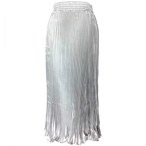 ZLYCP Falda plisada de seda para mujer, cintura elástica Plateado plata 48