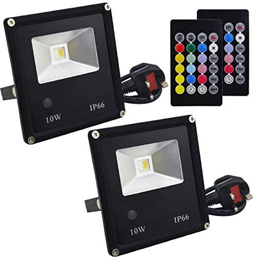 XHLLX RGB 10W Reflector, LED Que Cambia De Color Luces De Inundación Al Aire Libre con Control Remoto, RGB + Blanco Cálido, Impermeable IP66, (Paquete De 2)