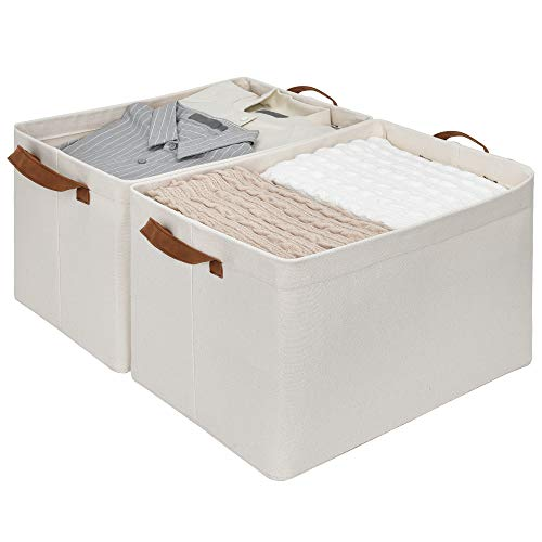 StorageWorks Metal Storage Baskets for Shelves with Frame, Rectangle Storage Bins, Natural, Jumbo, 2-Pack