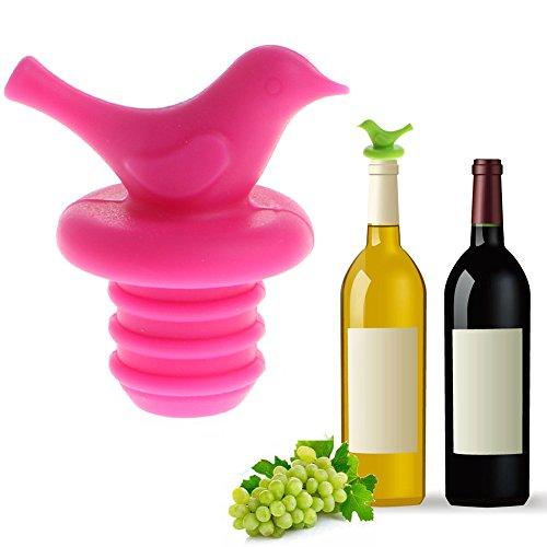 """Cuigu Form der Vogel Mignon Silikon versiegelt Vakuum Getränke Champagner Flaschenverschluß Stöpsel Wein, Silikon, Hot Pink, 1.97""""×0.98"""""""