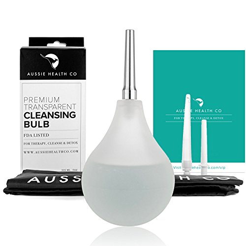Aussie Health Co Clear Non-Toxic Enema Bulb - 7oz Anal Douche Kit (BPA & Phthalates Free) for Home Water + Coffee Colon Cleansing, Detox & Constipation. Stainless Steel Tip & Storage Bag