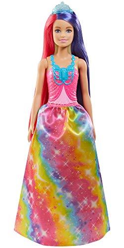 Barbie Dreamtopia Muñeca princesa con pelo de colores, falda moda fantasía, accesorios y peine de juguete (Mattel GTF38)