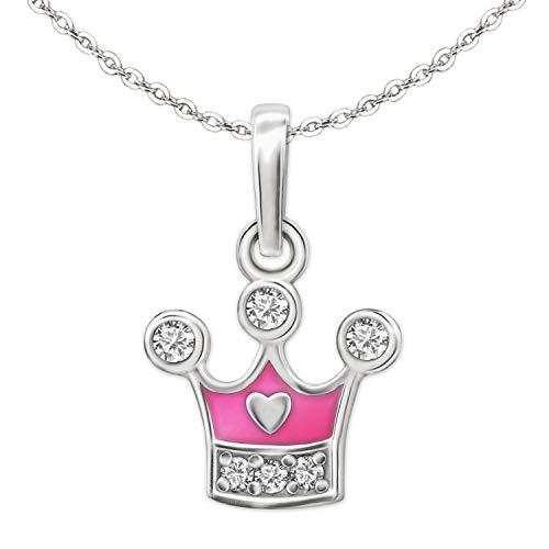 Clever Schmuck Set Silberner Mädchen Anhänger kleine Prinzessinnen Krone 9 x 8 mm teils rosa pink lackiert mit Zirkonias und Mini Herz glänzend sowie Kette Anker 40 cm STERLING SILBER 925 für Mädchen