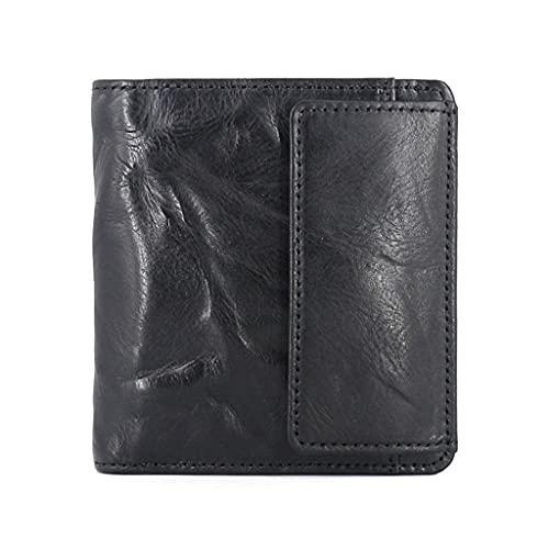 YQQMC Billetera pequeña para hombres, cuero genuino delgado para hombres con monedero y soporte para tarjetas de crédito duradero (color: negro)