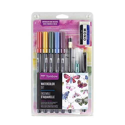 Tombow 56198 Watercolor Set. Includes Dual Brush Pens, Water Brush, Blending Palette, Guide, and More. Perfect for Beginner Watercolor Art!
