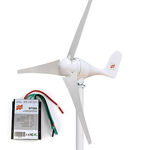 Marsrock Small Wind Turbine Generator AC 12Volt or 24Volt,400W Economy Windmill for Wind Solar Hybrid System 2m/s Start Wind Speed 3 Blades (400Watt 12Volt)