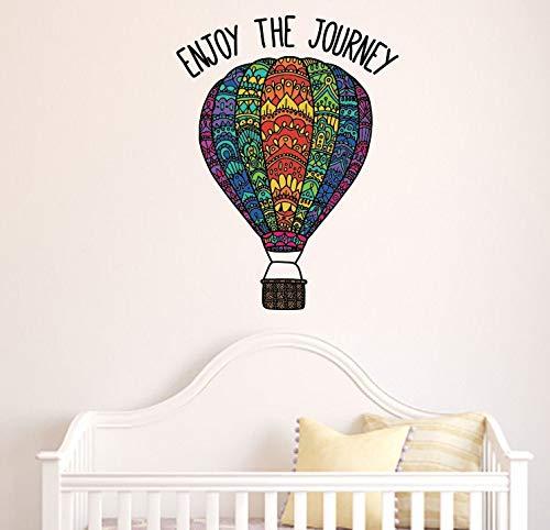 Vinilo adhesivo de pared de vinilo opaco para pared, diseño de globo de aire caliente, 'Enjoy the Journey', extragrande (40,6 x 55,8 cm)