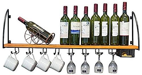Portabottiglie moda Cremagliera per vino Parete in legno massello appeso a parete a muro, mensola da parete, bar ristorante a muro appendiabiti in vetro per vino, cremagliera in ferro battuto vino Cha