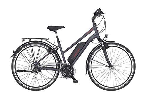 FISCHER Damen - Trekking E-Bike ETD 1806, Elektrofahrrad, anthrazit matt, 28 Zoll, RH 44 cm, Hinterradmotor 45 Nm, 48 V Akku