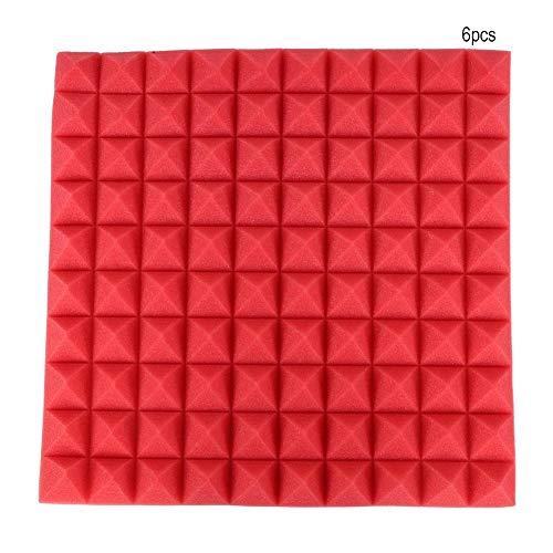 Fishlor Espuma insonorizada, 50 * 50 * 5 cm 6 Piezas Panel de absorción Esponja Forma de pirámide Espuma de algodón insonorizante con Aislamiento acústico(Rojo (50 * 50 * 5CM) 普通 款 折叠 发货)