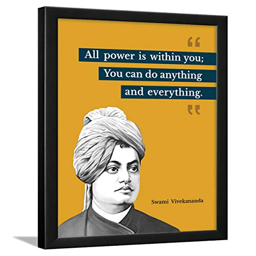 Chaka Chaundh - Suitable Swami Vivekananda Motivational Quotes Frames for Office & Student- Framed Posters with Frame - Quotes Wall Frames - Photos with Quotes - (13.5 X 10.5 inches)