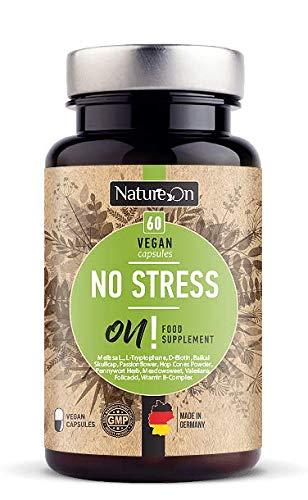 NatureOn Anti Stress und Angstabbau Nahrungsergänzungsmittel Beruhigungsmittel Gotu Kola L-Tryptophan Vitamin B Komplex Valeriana 60 rezeptfreie Kapseln Natürlicher Stimmungsaufheller Vegan