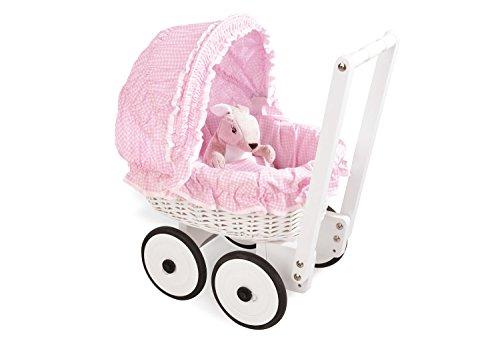 Pinolino Korbpuppenwagen Marion, aus Holz und Weide, inkl. Bettzeug, Bremssystem und gummierten Holzrädern, Lauflernhilfe für Kinder von 1 – 6 J., weiß und rosa