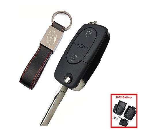 Schlüssel Gehäuse Fernbedienung für Audi Autoschlüssel Funkschlüssel 2 Tasten A2 A3 A4 A6 A8 TT Q3 Q5 Q7 (2030 Battery)