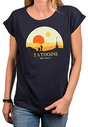 MAKAYA Camiseta Basica para Mujer Manga Corta Cuello Redondo - Mos Eisley Tatooine Android Star Azul Talla Grande XS