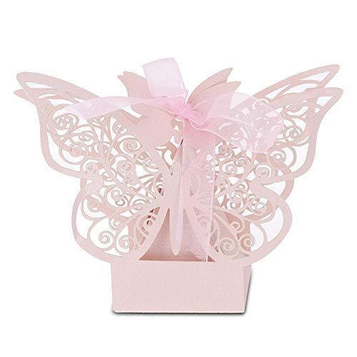 Oumij Sugar Box, 100PCS Hochzeitsbevorzugung Sugar Chocolate Boxes Hochzeitsdekoration für Hochzeitsgeburtstag(Rosa)