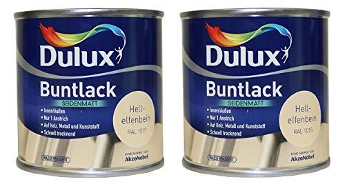 2 x 500ml Dulux Buntlack Seidenmatt für innen und außen 1 Liter Farbwahl, Farbe:Hellelfenbein RAL 1015