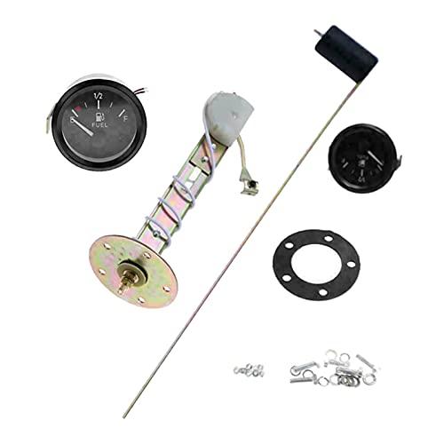 NERR YULUBAIHUO 12V 2 Pulgadas / 52 mm Sensor de Combustible Universal E-1/2-F Medidor de Puntero de Combustible Calibrador de Nivel de Combustible con Lunge LED Blanco (Color : Black)