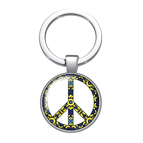 Peace Sign Symbol Glass Cabochon Keychain Bag Car Key Chain Ring Holder Charms Silver Color Keychains Men Women Gifts