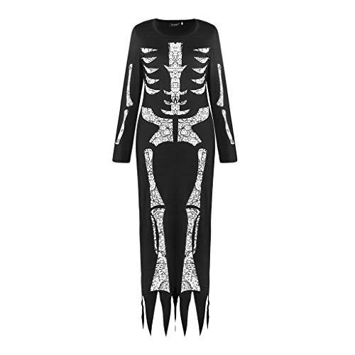 YYRZGW kvinnor skelett halloween kostym klänning med Back Printing Scary Sexy Skeleton kostym klänning kvinnlig vuxen cosplay kläder-S-svart