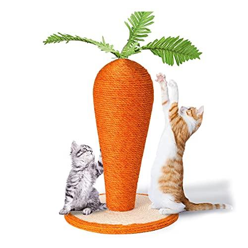 QNMM Poste Rascador De Gato, Juguetes Interactivos para Gatos Rascador De Garra De Gato De Zanahoria Ensamblable De 17'para Gatos De Interior, Lindo Rascador De Cuerda De Sisal Y Hojas De Zanahoria