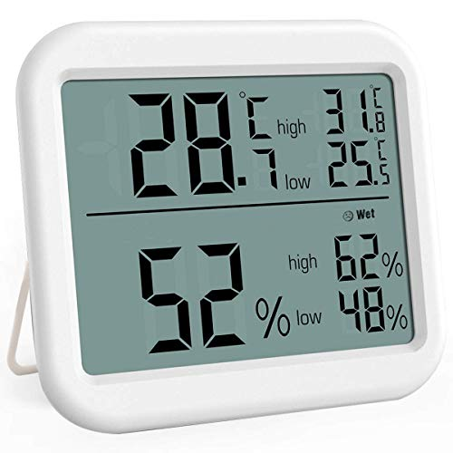 NEYOANN Indoor Thermometer, Digital Hygrometer With Big Screen And Icon Display, Humidity Gauge Indicator Room Thermometer, High Accuracy Thermometer Gauge For Home Office Greenhouse