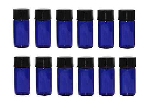 Lot de 12 mini flacons vides en verre bleu de 3 ml pour huiles essentielles, cosmétiques, voyage, échantillons de liquide, pots avec réducteur d'orifi