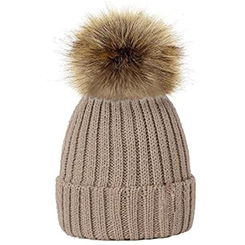 Encantador niño Mujer Gorros Sombreros cálido Invierno pompón de Punto Gorros Mujeres bebé niñas niño pompón Sombrero esquí Nieve Gorra-a3