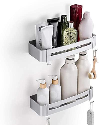 YOOKEA Duschregal Ohne Bohren, 2 Stück Duschablage Selbstklebend mit 4 Haken, Duschkorb Aluminum für Badezimmer, Küche, Silber