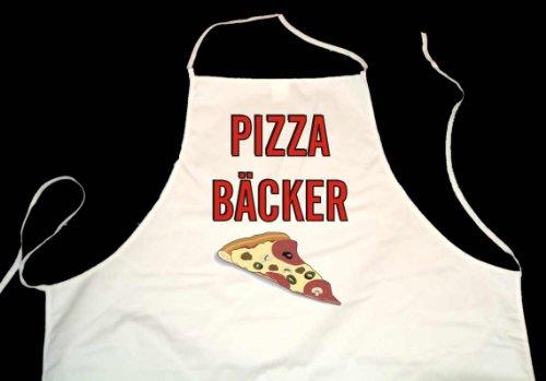 Pizza Bäcker; Weiße Schürze (Latzschürze, Berufsbekleidung, Kochen, Grillen, Backen, Garten, Service)