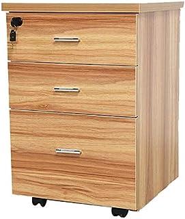Classeurs Tiroir Lock Mobile 3 Couches du Type à Roues de Bureau en Bois Massif Stockage des ménages Cabinet Armoire de Ra...