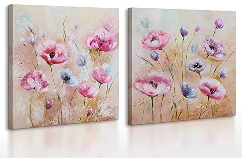 YS-Art | Dipinti a Mano Colori acrilici Aroma della Primavera | Quadro Dipinto a Mano | 2x70x70 cm | Pittura | Dipinti Modern | Quadri Dipinti a Mano | 2-Parti