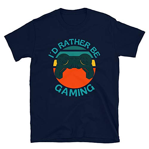 OFECreations Streetwear Camiseta unisex de manga corta con texto en inglés 'I Rather be Gaming'.