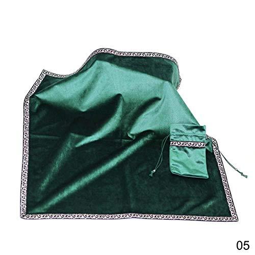 Janedream Tarot-Tischdecke mit Kartentaschen, Partybrett-Spiel-Tischdecke, beflockter Stoff, Tarot-Zubehör, grün