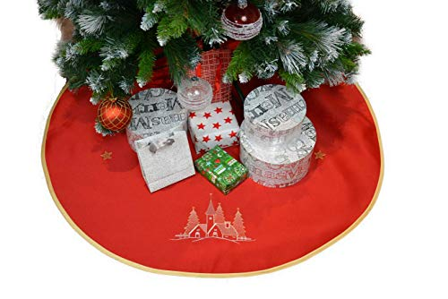 Weihnachtsbaum Rock Weihnachtsbaumdecke Christbaumständerhülle Christbaum Unterlage Tannenbaum-Unterlage Weihnachten Geschenk Idee Bestickt Klettverschluss ca.90 cm Rot