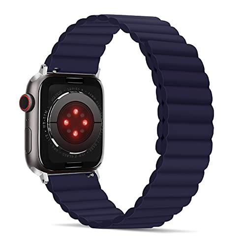 Tasikar Correas Compatible con Correa Apple Watch 44mm 42mm, Pulsera de Repuesto de Silicona con Fuerte Cierre Magnético [Usable Doble Cara] para iWatch Series 6 5 4 3 2 1 SE - (Azul)