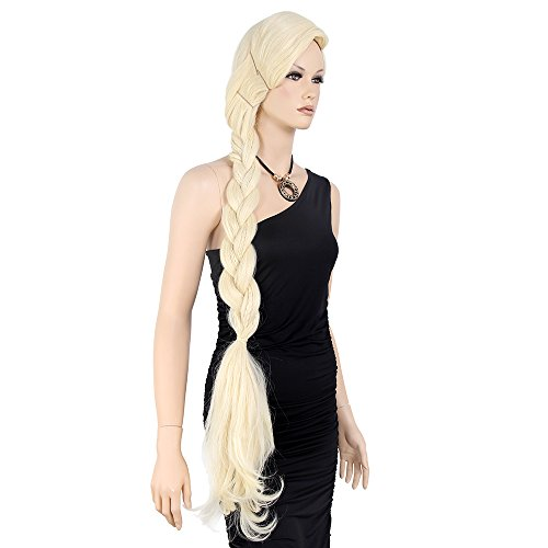 STfantasy Elsa Cosplay Wig Braid Long Straight for Women Halloween Party Hair with Cap 47 Inches Blonde