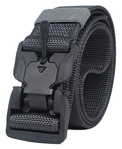 Longwu Hebilla súper magnética Lona de nylon de liberación rápida Cinturón táctico militar transpirable para hombres y mujeres con hebilla de plástico Gris oscuro