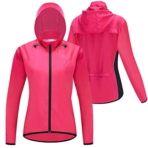 Fahrrad Regenjacke Damen,Fahrradjacke Damen Sommer,Wasserabweisend Atmungsaktiv Radlerjacke,Ultraleichte Mountainbike Jacket,Für Radfahren,Wandern Radjacke Frauen(Size:XL,Color:Rosa)