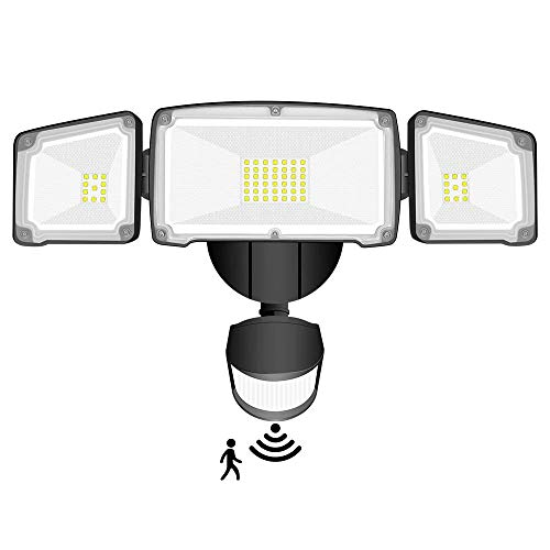 Motion Sensor Light Outdoor, SONATA LED Security Lights with 3 Adjustable Heads, 42W 6000K 4000LM Super Bright Outdoor Flood Light, IP65 Waterproof for Pathway, Garage, Front Door and Yard